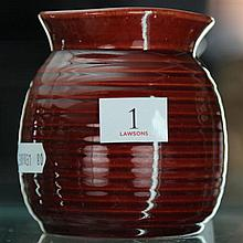 John Campbell Red Glaze Honey Pot Vase, Height - 9cm