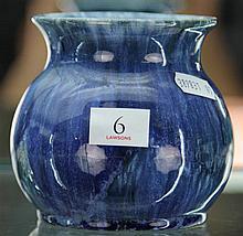 John Campbell Blue Glaze Squat Vase, Height - 10cm