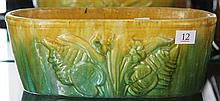 John Campbell Green & Yellow Glaze Trough with Floral Motif, Length - 28cm