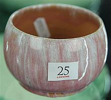 John Campbell Pink Glaze Squat Vase, Height - 7cm