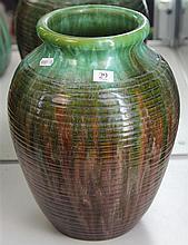 John Campbell Green & Brown Glaze Honey Pot Vase of Heavy Construction, Height - 33cm