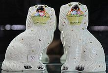 Staffordshire Pair of Dogs with Baskets of Flowers