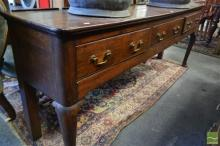 Georgian Oak Dresser Base, with three drawers with simulated 'cock-beading', raised on cabriole legs