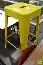 Pair of Yellow Metal Barstools