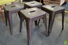Set of Four Rustic Tolix Stools