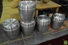 Set of Five Metal Round Stools