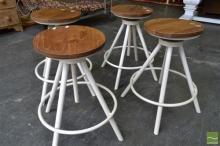 Set of Four Timber Top Swivel Stools on White Metal Round Base
