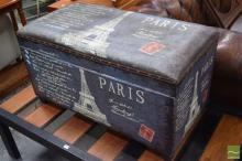 Paris Themed Lift Top Ottoman