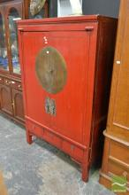 Oriental Red Lacquered Fitted Cabinet with Two Doors & Drawers to Base (A/F)
