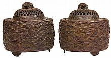 Chinese Bronze 'Cranes & Turtle' Pair of Covered Censers