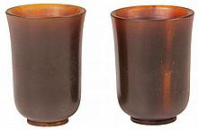 Chinese Fine Pair of Horn Stem Cups