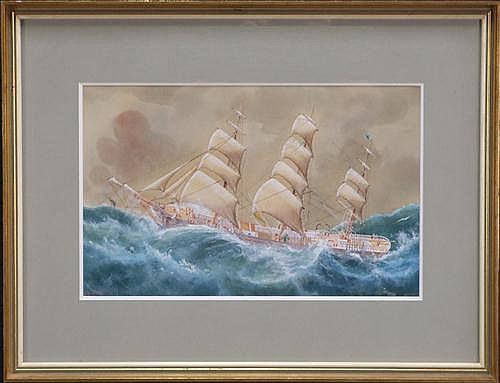 Arthur Victor Gregory (1857-1913) - Three-Masted Sailing