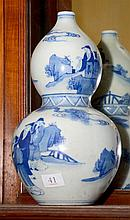 A BLUE & WHITE GOUARD SHAPE VASE WITH KANGXI MARK (1662 - 1722)