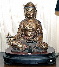 LARGE PAINTED GILT & RED BUDDHA, LATE QING (WITH STAND)