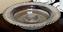 AN ELABORATE EDWARDIAN HAND CUT LEAD CRYSTAL LARGE BROAD RIMMED BOWL WITH SCALLOPED EDGE