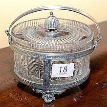 A VICTORIAN SILVER PLATE & CUTLEAD CRYSTAL PRESERVES DISH