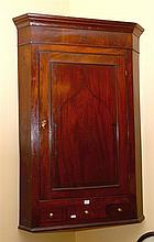 VICTORIAN MAHOGANY CORNER UNIT WITH INTERNAL SHELVING AND SINGLE DRAWER