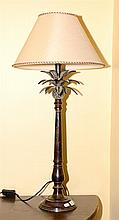 A BRONZED PINEAPPLE FORM TABLE TAMP WTIH CLOTH SHADE H: 77CM