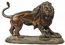 Bronze Figure of Lion Figting a Snake