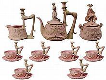 Rudolstadt Bisque Pink & Green Novelty Tea Set for Six Persons