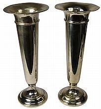 American Sterling Silver Pair of Trumpet Vases