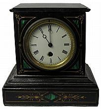 Slate & Malachite Mantle Clock