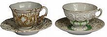 Meissen Moulded Tea Cups & Saucers