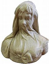Victorian Marble Carved Figure of a Young Veiled Woman