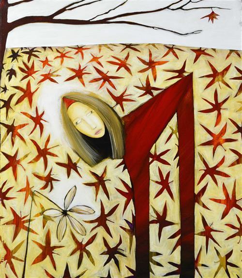 Gordon Richards (1953 - ) - Woman and Flower 122 x 101.5cm