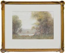 Alvah Earlington Rosebray (XIX - XX) - Boat on The Riverbank 21.5 x 31cm