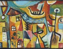 Jill Noble (1962 - ) - Untitled (Village Town Scene) 40 x 50cm