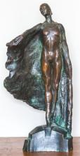 A tall and imposing bronze figure of performing ballerina, Miranda Coney. Titled