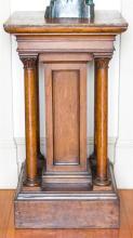 An antique English oak 5 column pedestal, c1900, height 111cm, 61 x 61cm