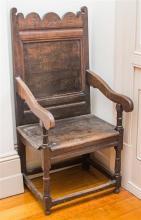 An 18th Century oak Wainscot chair, height 122, depth 52, width 54cm
