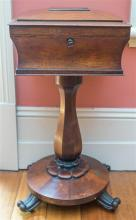 A 19th century rosewood teapoy, with fitted interior, on a pedestal base, with a BADA stamp, height 80cm, by 38 x34cm, missing canis...