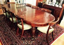 A 19th century cedar extension dining table, with three leaves, fully extended length 300cm, width 120, height 75cm