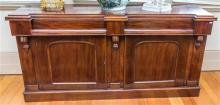 A Victorian mahogany sideboard, with door doors and two frieze drawers, height 91, width 180, depth 50cm