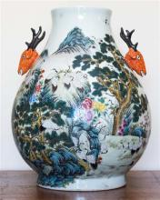 A large Chinese two-deer handle vase, polychrome cranes motif, marks to base, h48cm