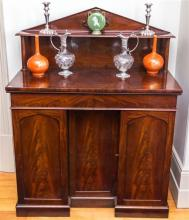 An antique Georgian mahogany small 2 drawer 3 door sideboard, height 130, width 105, depth 54cm