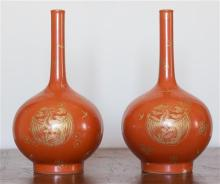A pair of Chinese red vase, gilt phoenix design, marks to base, h25cm