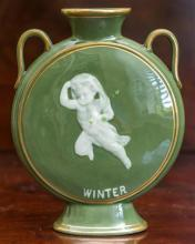 A George  Jones celadon glazed twin handled moon flask vase with a pate - sur - pate  figure titled