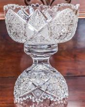 An excellent quality elaborately hand cut lead crystal 2 piece table centre piece. H: 29cm