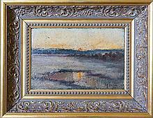 James L Fitzgibbon (American 1864 - 1929) - 'Sunset over the Marsh' 20 x 31cm