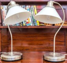 A pair of chrome and glass shade desk lamps, height 48cm