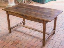 An antique French Country 3 panel oak table, H 73, W 78, L 140cm