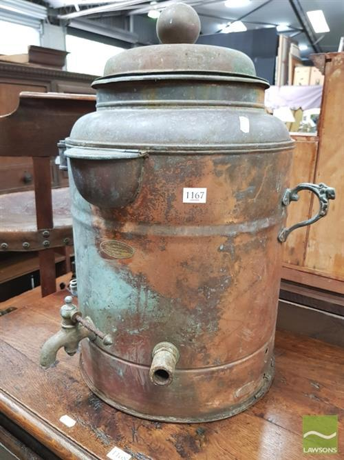 Large early electric copper water boiler by mauri brothers for Copper water boiler