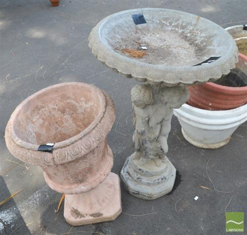 Concrete Birdbath With Planter