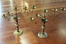 Brass Pair of Five Sconce Candelabra