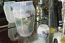 Large Royal Copenhagen Vase with Village Scene together with a Smaller Floral Example