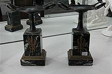 Pair of Green Marble and Metal Garnitures